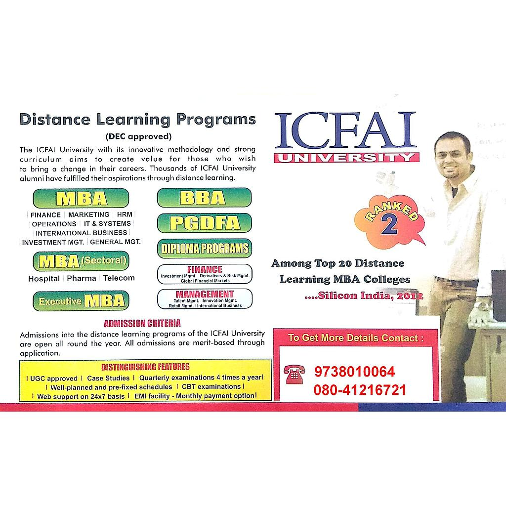 THE ICFAI UNIVERSITY-DISTANCE-MBA-BBS-PGDFE-EDUCATION-PROGRAMS-ACADEMY-CENTERS-INSTITUTES-EXECUTIVE-SECTORIAL-KORAMANGALA-7TH BLOCK-SOUTH BANGALORE